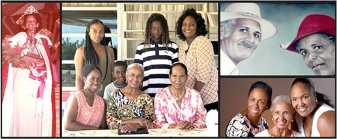 Bottom right: Agatha and her daughters, Alisa (left) and Felicity; left: 18-year-old Agatha takes the Miss Bahamas crown in 1973 for a newly-Independent Bahamas; middle: Agatha (centre) surrounded by family - seated (l-r)  daughter Alisa and cousin Felice; standing (l-r) granddaughter Malia; grandsons Stameko (Jay-Jay) and Emmanuel; and daughter Felicity; top right: Agatha's parents, William and Olga Watson of Gordon's Long Island.