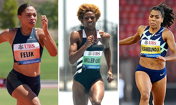 Allyson Felix, Shaunae Miller-Uibo and Mujinga Kambundji compete in the 150m.