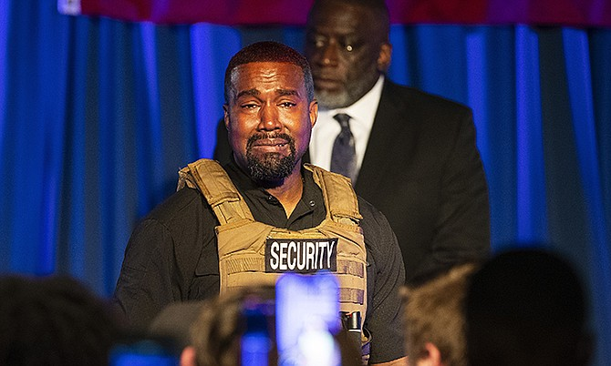 Kanye West making his first presidential campaign appearance in South Carolina when he delivered a lengthy monologue touching on topics from abortion and religion to international trade and licensing deals.