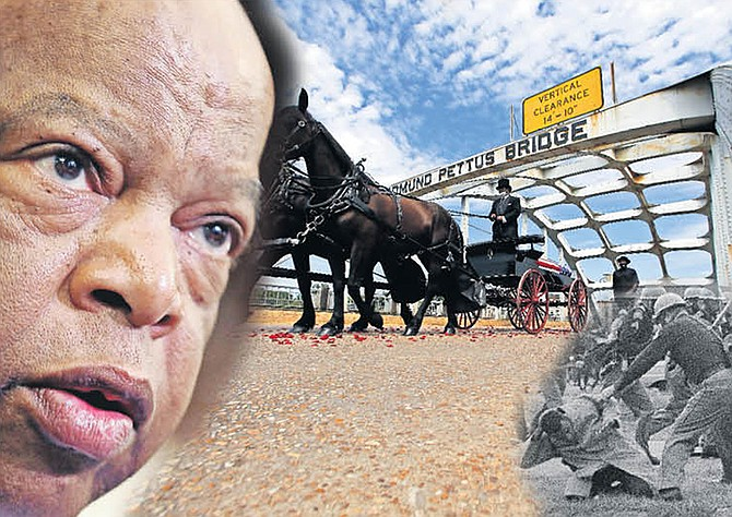 John Lewis, whose memorial was being held yesterday. He was beaten, bottom right, when he tried to cross the Edmund Pettus Bridge in Selma - but given a horse-drawn carriage across the bridge following his death.