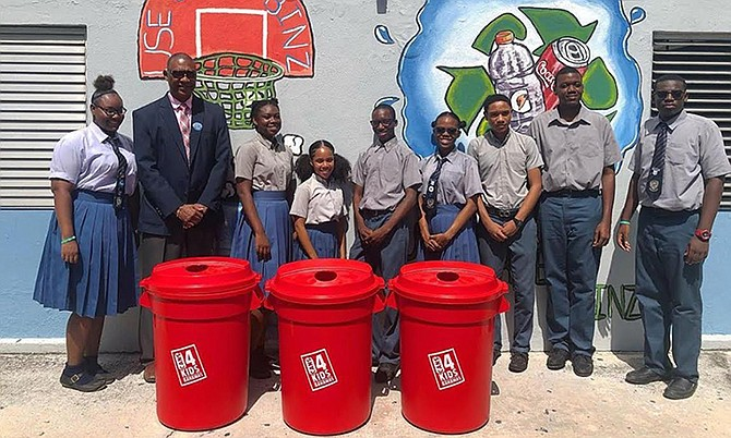 St Anne's School is ready to introduce their new Cans for Kids bins.