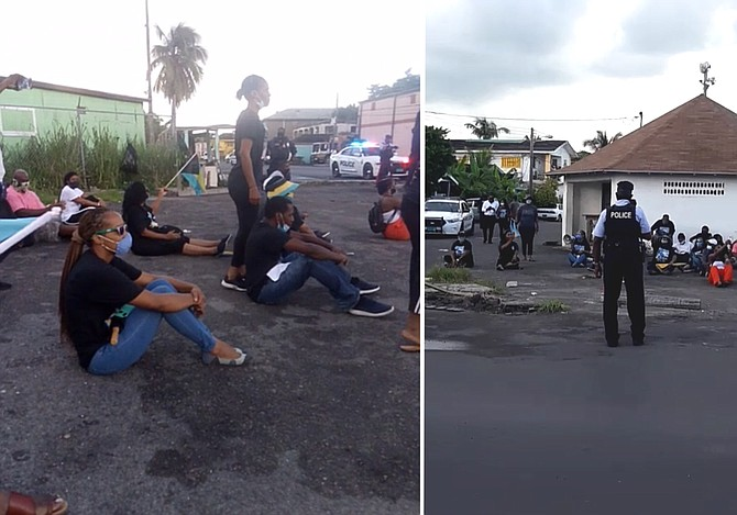 Stills from social media videos showing the protest on Tuesday morning.