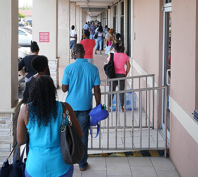 People queueing to shop on Monday. Photo: Terrel W Carey Sr/Tribune Staff