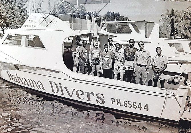 A Bahama Divers boat and crew in 1987.