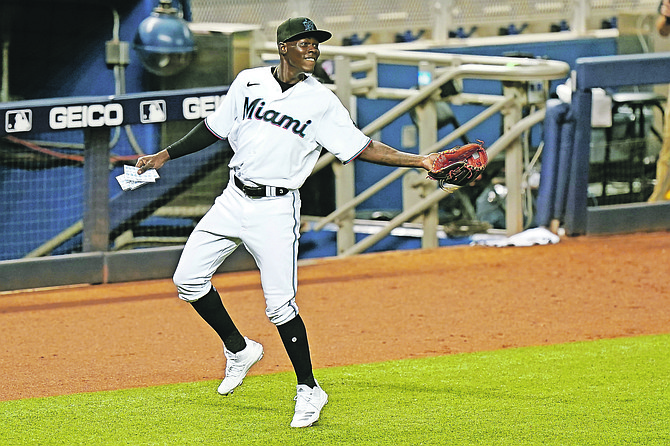 Miami Marlins infielder Jazz Chisholm is shown during the eighth inning of a baseball game against the Toronto Blue Jays on September 1 in Miami. Chisholm had his first major league home run, RBI, triple and multi hit game in the Marlins 29-9 loss to the Atlanta Braves last night.                                                                                                                 (AP Photo/Wilfredo Lee)