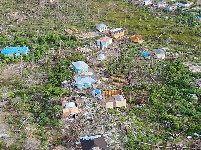 Aerial photos from last year of suspected unregulated structures in the Farm shanty town, Treasure Cay.