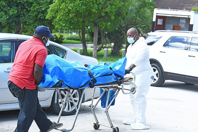 The body is removed from the scene at Goodman's Bay. Photos: Shawn Hanna/Tribune staff