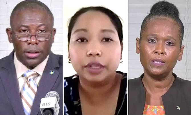 Health Minister Renward Wells, Dr Nikkiah Forbes and Dr Pearl McMillan speak on Friday.