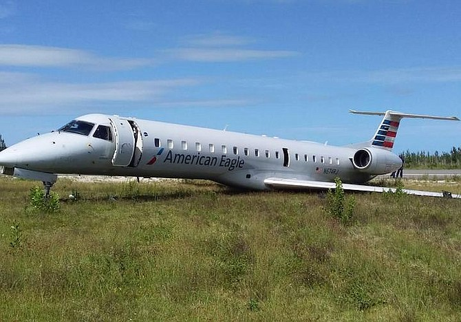 Photos from social media of the plane in Freeport.