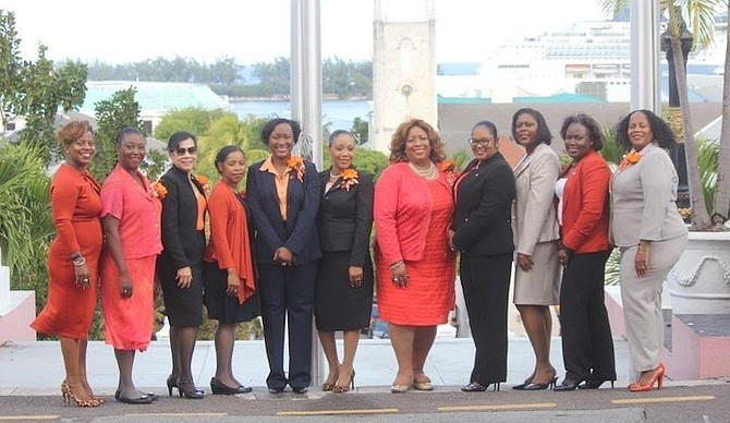 MEMBERS of the Zonta Clubs of The Bahamas pictured last year taking their message of ending violence against women and girls to the Upper and Lower House of The Bahamas. Governor General C A Smith, Prime Minister Dr Hubert Minnis, and Senators and parliamentarian all heard from Zontians about the importance of eradicating violence in the country.