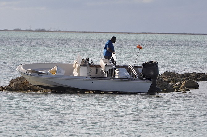 THE AFTERMATH of the boating accident that resulted in three people being taken to hospital. The