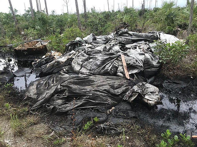 OIL found illegally dumped in East Grand Bahama on Wednesday of last week.