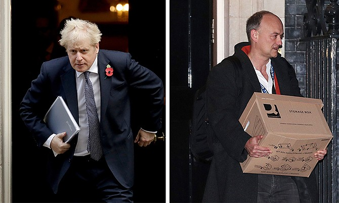 BRITISH Prime Minister Boris Johnson and, right, his advisor Dominic Cummings leaving 10 Downing Street with a box on Friday.