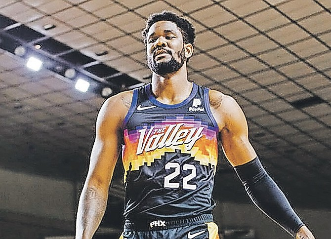 DEANDRE AYTON, getting in shape for his third season in the National Basketball Association (NBA), was the poster boy for the upstart Phoenix Suns as they unveiled their new Nike City Edition uniforms.