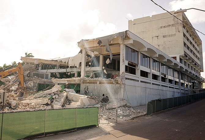 THE DEMOLITION of the General Post Office in East Hill Street begins yesterday. Photo: Donovan McIntosh