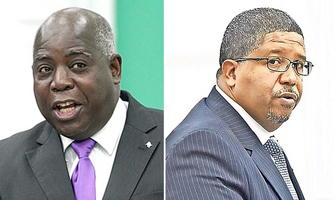 "PLP Leader Philip ""Brave"" Davis and Deputy Prime Minister Peter Turnquest."