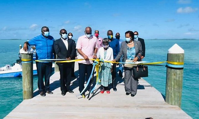 Prime Minister Dr Hubert Minnis at the official opening of Barreterre Dock, Exuma. (BIS Photo/Yontalay Bowe)