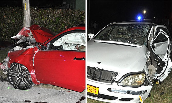 A red Honda Accord Coupe and a white Mercedes Benz were involved in a crash on Grand Bahama on Saturday. Photos: Vandyke Hepburn