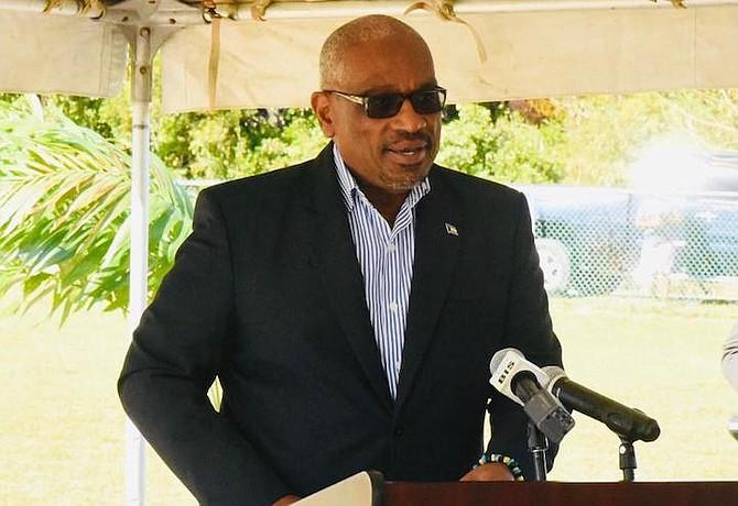 PRIME Minister Dr Hubert Minnis speaks in Abaco on Friday.