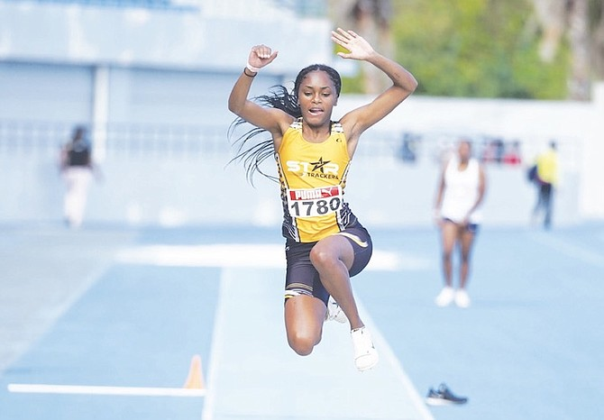 AN athlete competes in the Bahamas Association of Athletic Associations' first track and field meet - held on Saturday at the Thomas A Robinson National Stadium - since the coronavirus pandemic broke out in March. Photo: Terrel W Carey/Tribune Staff
