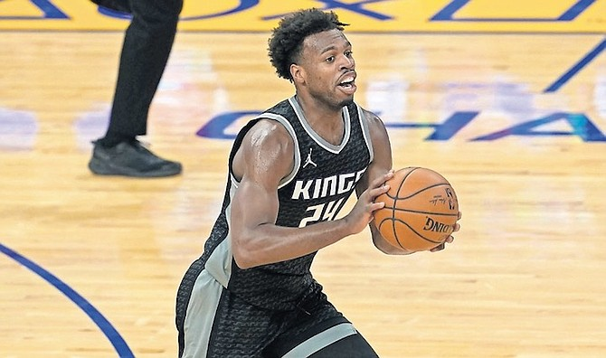 KINGS guard Buddy Hield in action against the Warriors. (AP)
