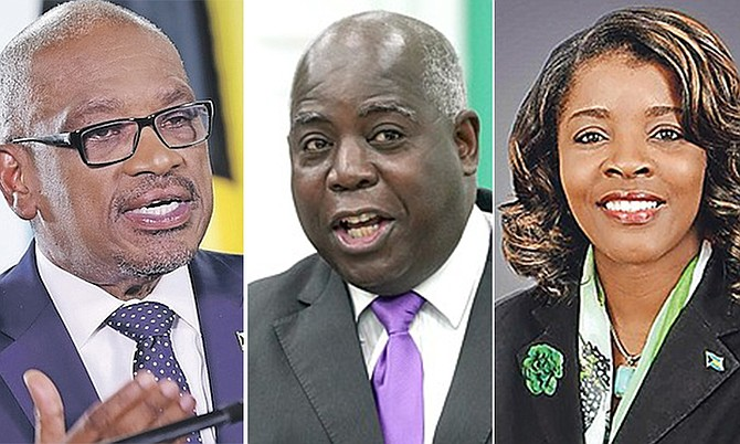 FROM left, FNM leader Dr Hubert Minnis, PLP leader Philip 'Brave' Davis and DNA leader Arinthia Komolafe - but who will be at the helm of the next government of The Bahamas?