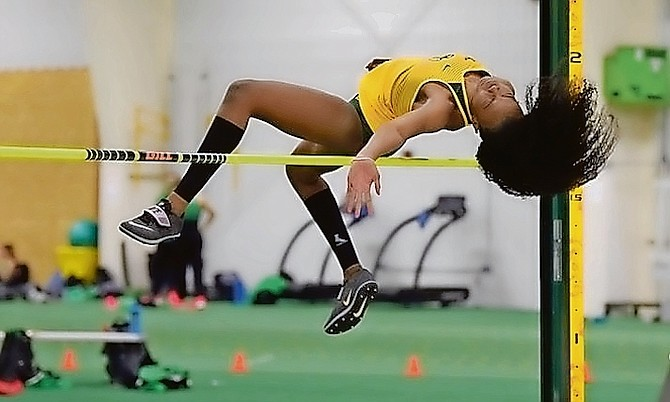 Daejha Moss had her personal best performance in the high jump in her season opener for the Bisons Saturday. Photo: Richard Svaleson