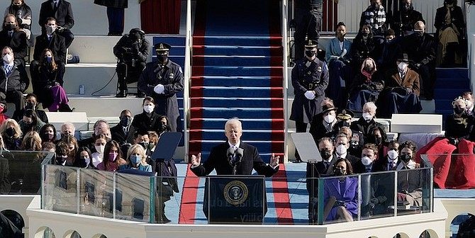 PRESIDENT Joe Biden speaks during the 59th Presidential Inauguration at the US Capitol in Washington yesterday. Photo: Patrick Semansky/AP