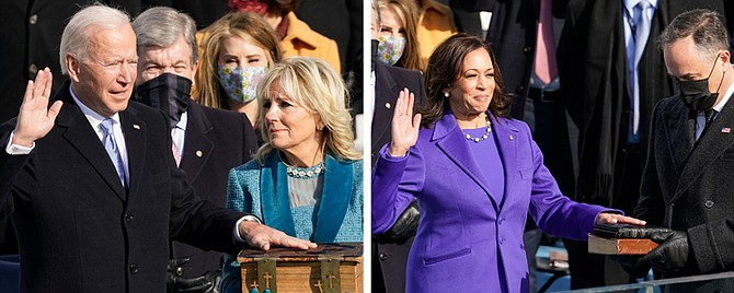 JOE Biden is sworn in as the 46th President of the United States and Kamala Harris is sworn in as Vice President. (AP Photos/Andrew Harnik)