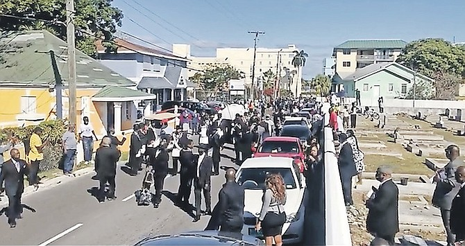 An image from the video showing the funeral for Ted Sweeting.