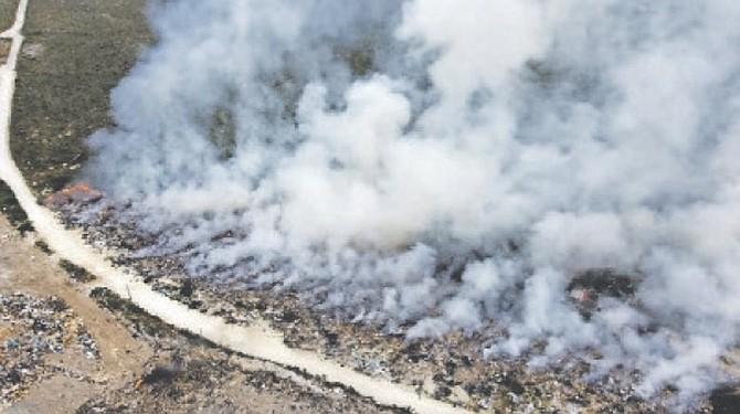 The blaze at Great Abaco Sanitary Landfill.
