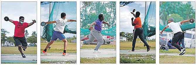 ATHLETES take advantage of the Blue Chips Throwers Club's meet at the Thomas A Robinson Track and Field Stadium on Saturday.
