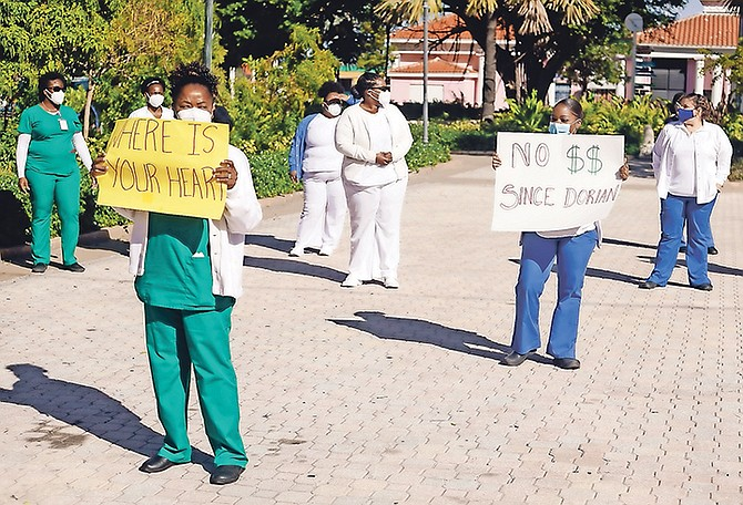 Nurses protesting in Rawson Square yesterday. Photo: Donovan McIntosh/Tribune Staff