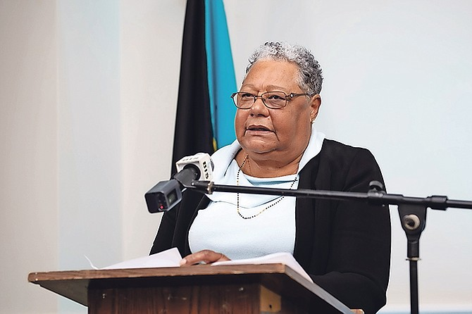 DR Merceline Dahl-Regis speaking yesterday. Photo: Ulric Woodside/BIS