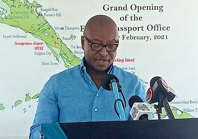 NORTH Abaco MP and Minister of Foreign Affairs Darren Henfield speaks on Friday at the official opening of the Exuma Passport Office. (BIS Photo/Ulric Woodside)