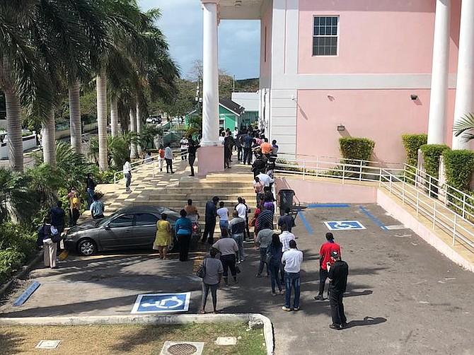 The scene outside the building on Thursday morning.
