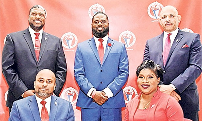 FRONT, from left, Senator Kwasi Thompson (East Grand Bahama), Vandea Stuart (South Abaco), (back) Carlton Bowleg Jr (North Andros and The Berry Islands), Courtney Coulibaly (Centreville), Dr Duane Sands (Elizabeth).
