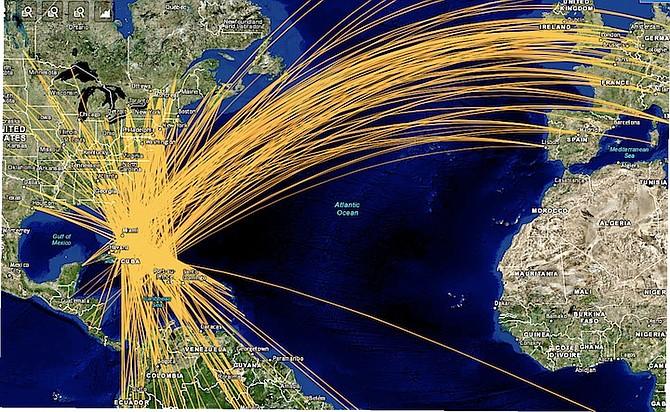 Tracks of 594,000 flights using Bahamas' strategically located archipelagic airspace per annum.