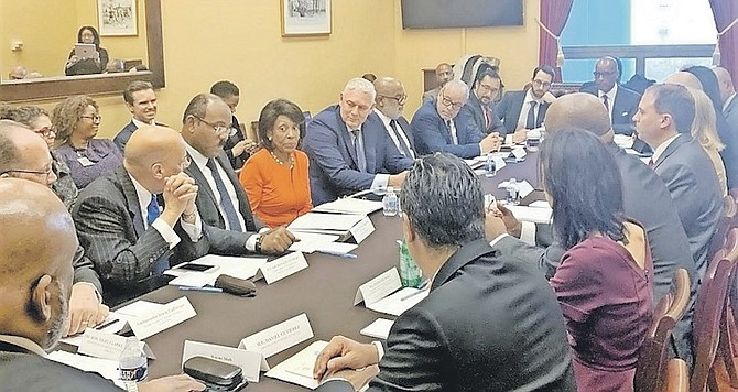 THE NOVEMBER 2019 US Congressional Round Table. From left, far side of table, Sir Ronald Sanders, Antigua and Barbuda Prime Minister Gaston Browne, Congresswoman Maxine Waters, and St Lucia Prime Minister Allen Chastanet.