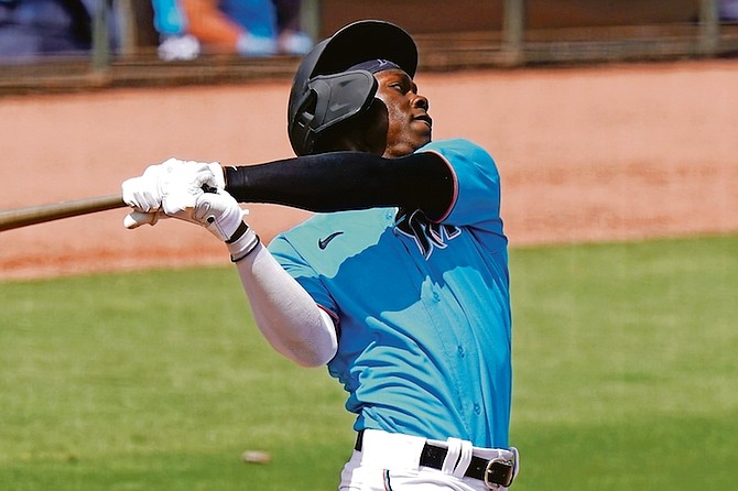 """JASRADO """"Jazz"""" Chisholm hit a two-run home run to highlight the Marlins' 4-2 win over the Houston Astros in Grapefruit League play yesterday."""