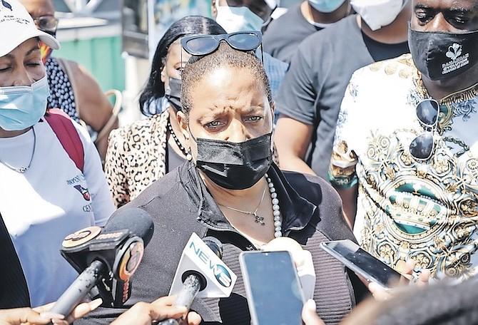 LORETTA Butler-Turner showing her support for DNA leader Arinthia Komolafe last week.