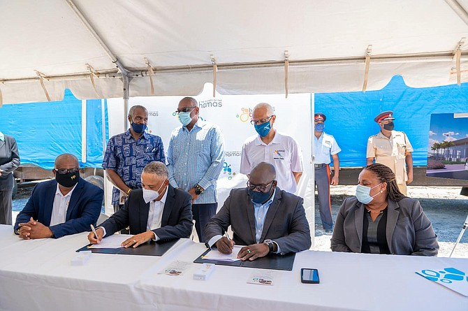 The contract signing for the new Exuma International Airport. Photo: Office of the Prime Minister