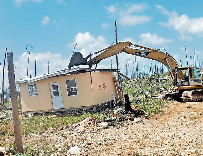 Demolition in Abaco at the weekend.