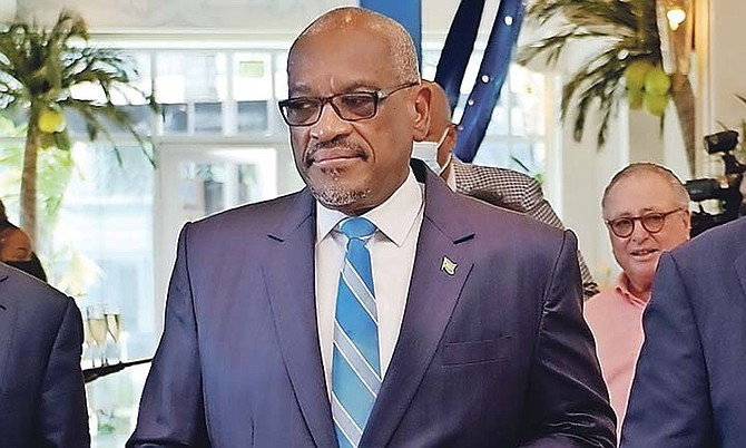 Prime Minister Dr Hubert Minnis at the opening of the Margaritaville resort at The Pointe yesterday.