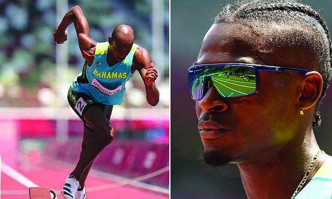 Steven Gardiner (left) and Alonzo Russell pictured during the men's 400m heats. (AP Photos/Petr David Josek)