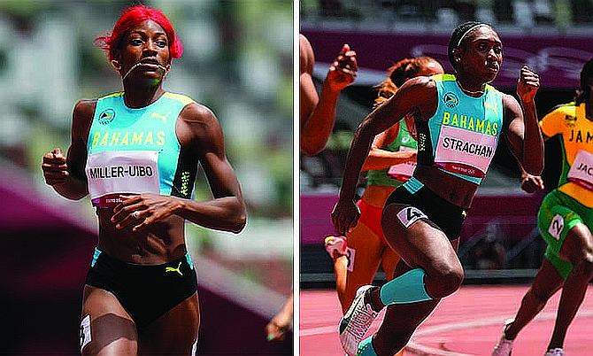 Shaunae Miller-Uibo and Anthonique Strachan compete in their 200m heats. (AP Photos)
