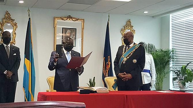 Philip 'Brave' Davis is sworn in as Prime Minister on Friday.