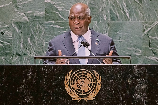 """Prime Minister Philip """"Brave"""" Davis addresses the 76th Session of the UN General Assembly at the United Nations headquarters in New York. Photo: Eduardo Munoz/AP"""