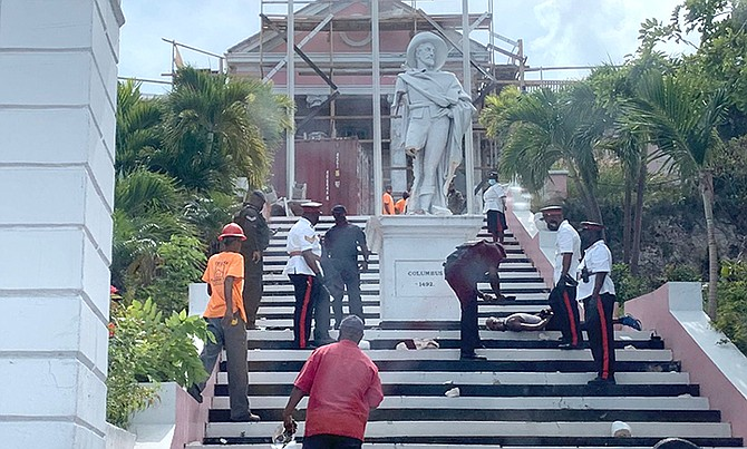 A photo from social media showing police at the scene at Government House on Saturday afternoon.