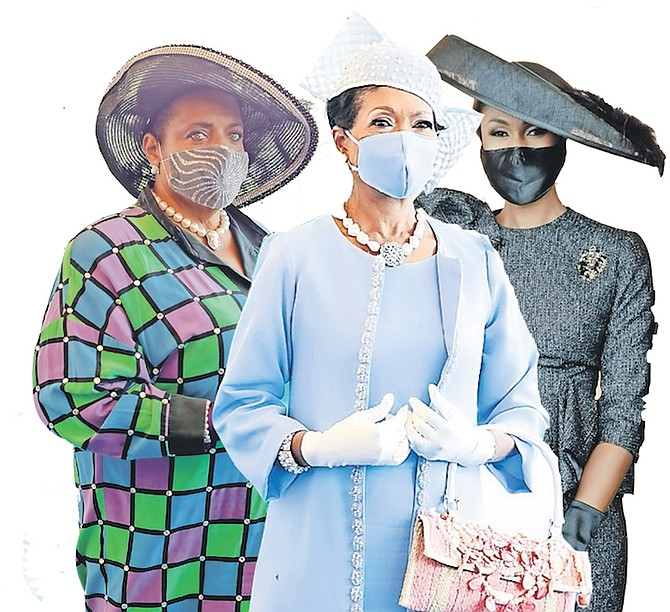 """AMONG those showing off their fashions at the opening of Parliament were, from left, former MP Loretta Butler-Turner, Ann Marie Davis, the wife of Prime Minister Philip """"Brave"""" Davis, and Leslia Milller-Brice MP."""